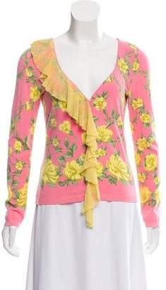 Blumarine Long Sleeve Floral Top