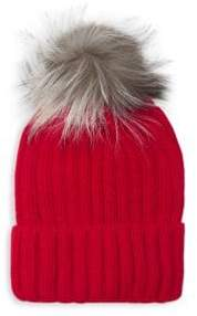 Pom-Pom Knit Fox Fur Beanie