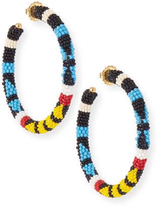 Oscar de la Renta Bead Pattern Hoop Earrings
