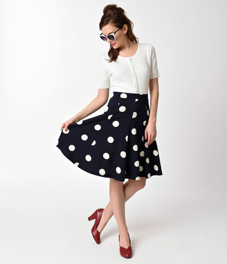Unique Vintage Vintage Style Navy Blue & Ivory Polka Dot Flare Skirt