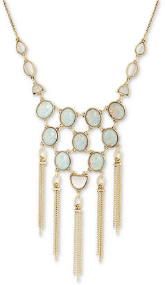 "Lucky Brand Gold-Tone Stone & Chain Tassel Statement Necklace, 19"" + 2"" extender"