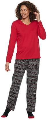 Croft & Barrow Women's Tee, Pants & Socks Pajama Set
