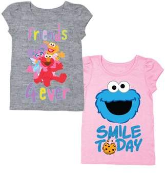 Sesame Street Elmo & Friends Short Sleeve T-shirt & Cookie Monster Short Sleeve T-shirt, 2-pack