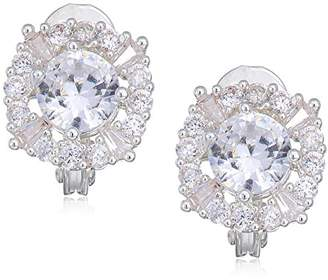 Anne Klein Classics Sivler Tone Pave Cz Button Clip On Earrings