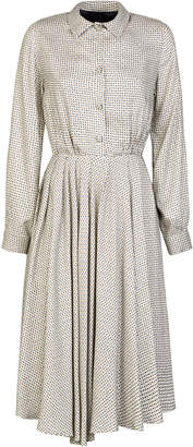 Giuliva Heritage Collection Minerva Printed Pleated Silk Shirt Dress S