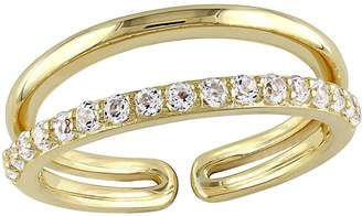 0.65cttw White Topaz Double-Bar Ring, Sterling/14K Plated