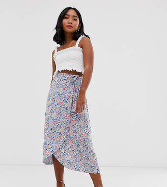 New Look Petite ditsy wrap midi skirt in purple floral