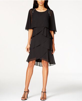 SL Fashions Beaded Tiered Capelet Dress $99 thestylecure.com