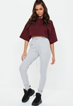 Missguided Grey Marl Ribbed Joggers