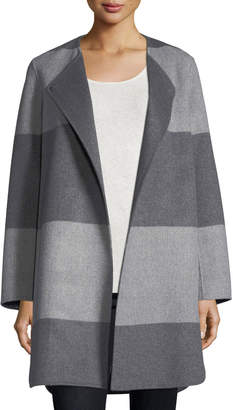 Neiman Marcus Luxury Striped Curved Double-Faced Cashmere Coat