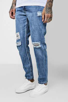 boohoo Skinny Fit Rigid Jeans With Ripped Knees