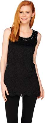 Women With Control Attitudes by Renee Sleeveless Lace Knit Tunic with Camisole