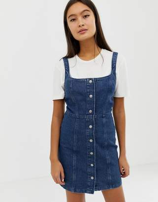 Asos Design DESIGN denim bodycon dress with popper detail in indigo