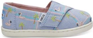 Blue Madras Embroidered Flamingos Tiny TOMS Classics