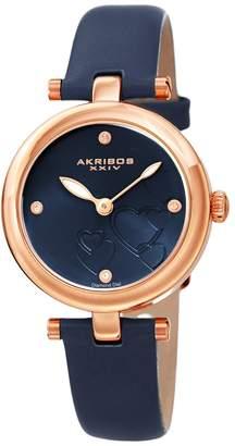 Akribos XXIV Women's Diamond Accent Leather Watch