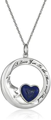 Lapis Sterling Silver Lazuli Heart Moon Pendant Necklace