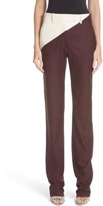 Calvin Klein Coated Panel Wool & Silk Pants