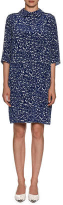 Marni Collared Elbow-Sleeve Lily-Print Silk Dress