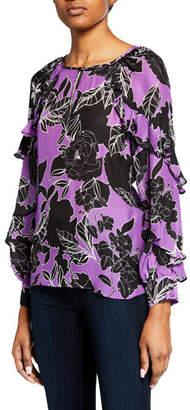 Parker Julian Floral-Print Ruffle Long-Sleeve Blouse