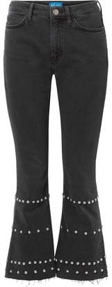 MiH Jeans Marty Cropped Studded High-rise Flared Jeans - Black