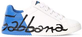 Dolce & Gabbana Logo Printed Two Tone Leather Sneakers
