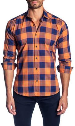 Jared Lang Men's Two-Tone Check Sport Shirt