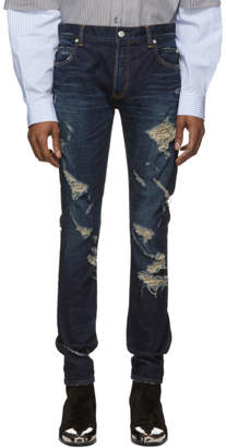 Balmain Blue Slim Cut Ripped Jeans
