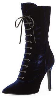 Charles David Loretta Velvet Lace-Up Stiletto Booties