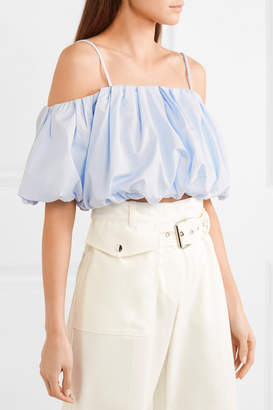 3.1 Phillip Lim Cropped Cold-shoulder Cotton-poplin Top - Sky blue