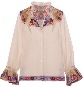 Etro - Ruffled Paisley-print Silk-georgette Blouse - Off-white $880 thestylecure.com
