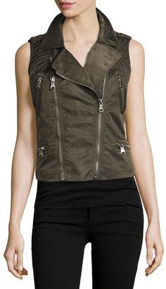 Raison D'etre Twill Zip-Front Moto Vest, Olive $85 thestylecure.com
