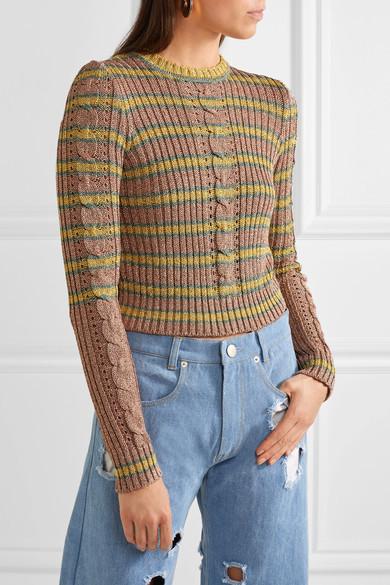 Philosophy di Lorenzo Serafini - Metallic Striped Cable-knit Sweater - Yellow 5