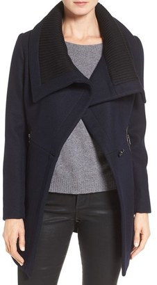 Trina Turk 'Maddi' Knit Collar Cutaway Wool Blend Coat $495 thestylecure.com