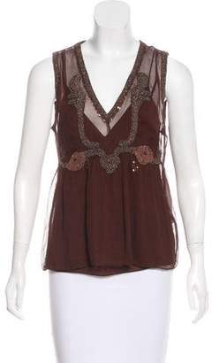 DKNY Sleeveless Silk Top
