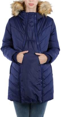 Modern Eternity Faux Fur Trim Convertible Puffer 3-in-1 Maternity Jacket