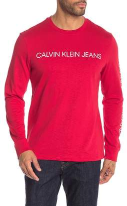 Calvin Klein Logo Printed Long Sleeve Crew Neck Top