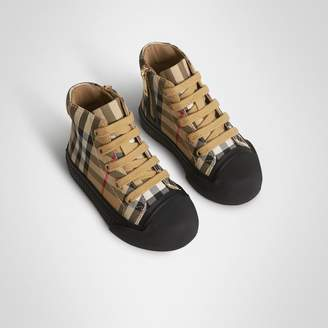 f56239eae Burberry Vintage Check and Leather High-top Sneakers