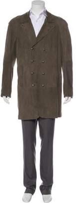 John Varvatos Double-Breasted Suede Overcoat Double-Breasted Suede Overcoat