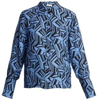 Chloe - Geometric Print Silk Crepe Blouse - Womens - Blue Print