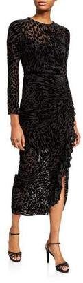 Veronica Beard Lala Velvet Burnout Ruffle Midi Dress