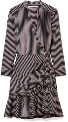 Veronica Beard Button-detailed Striped Cotton Dress - Midnight blue