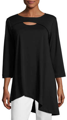 Joan Vass Plus Size Yoke-Cutout Asymmetric Easy Tunic
