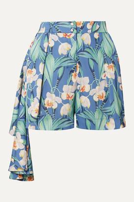 PatBO Draped Floral-print Crepe Shorts - Blue