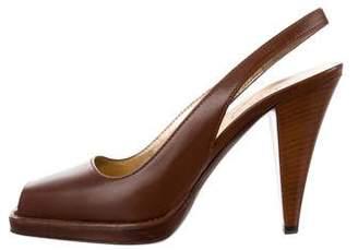 Prada Leather Peep-Toe Slingback Pumps