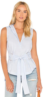 DEREK LAM 10 CROSBY Tie Waist D Ring Shirt in Blue $325 thestylecure.com