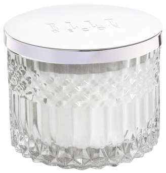 Jay Import Faceted Crystal Glass Candle with Metal Lid - Clear