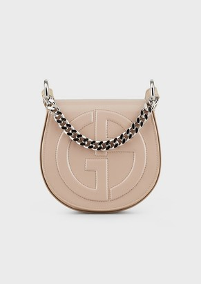 Giorgio Armani Shoulder Bag In Patent Leather With Embossed Ga Logo