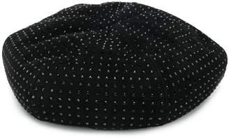 Saint Laurent sequinned studded beret hat
