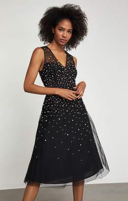 BCBGMAXAZRIA Sleeveless Faux Pearl Dress