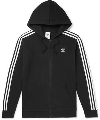 adidas Striped Cotton-blend Jersey Zip-up Hoodie - Black